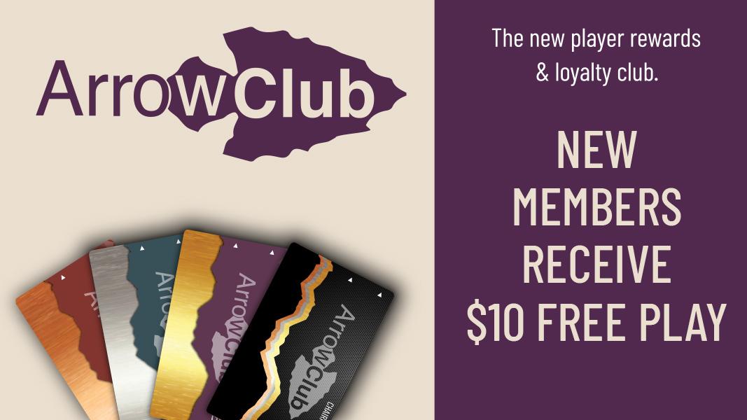 new wanaaha casino arrow club members receive $10 free slot play