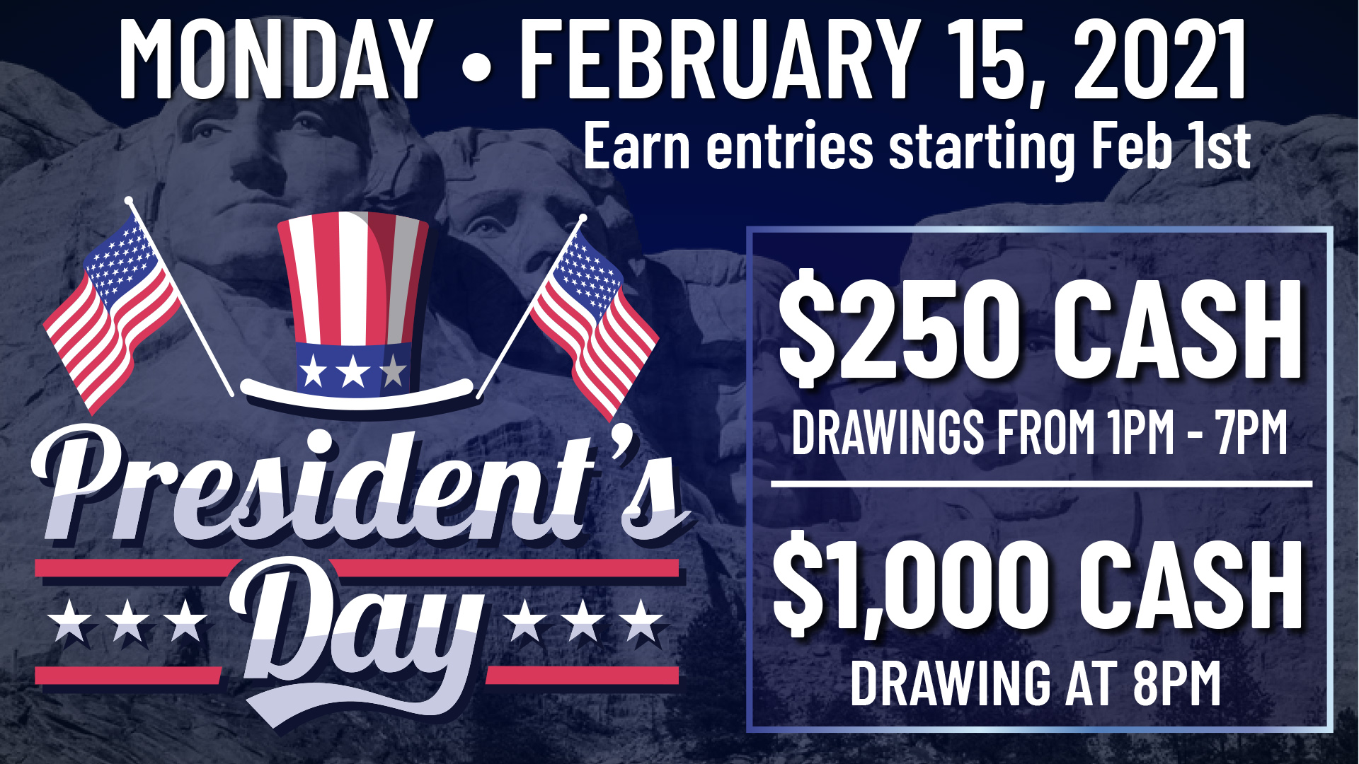cash giveaway, presidents day, wanaaha casino