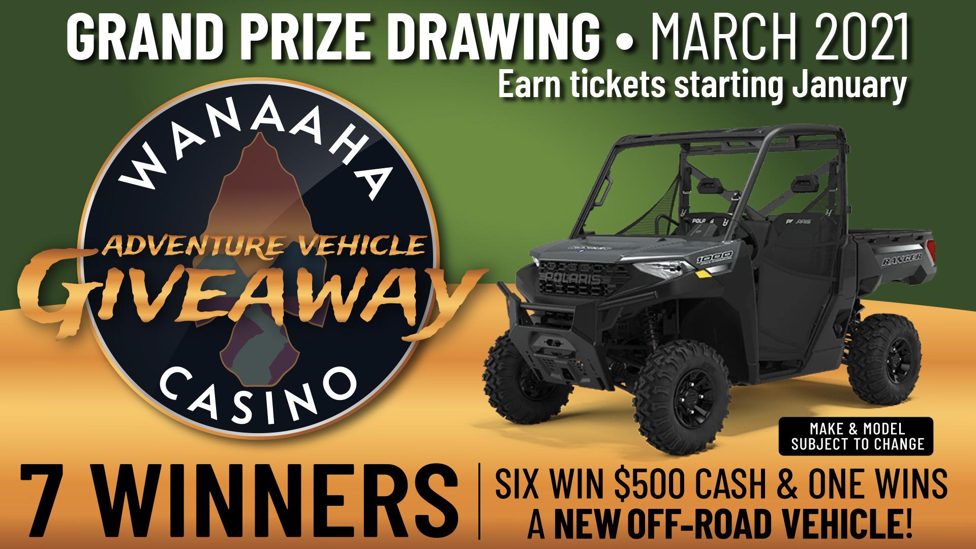 adventure vehicle giveaway - wanaaha casino promotion