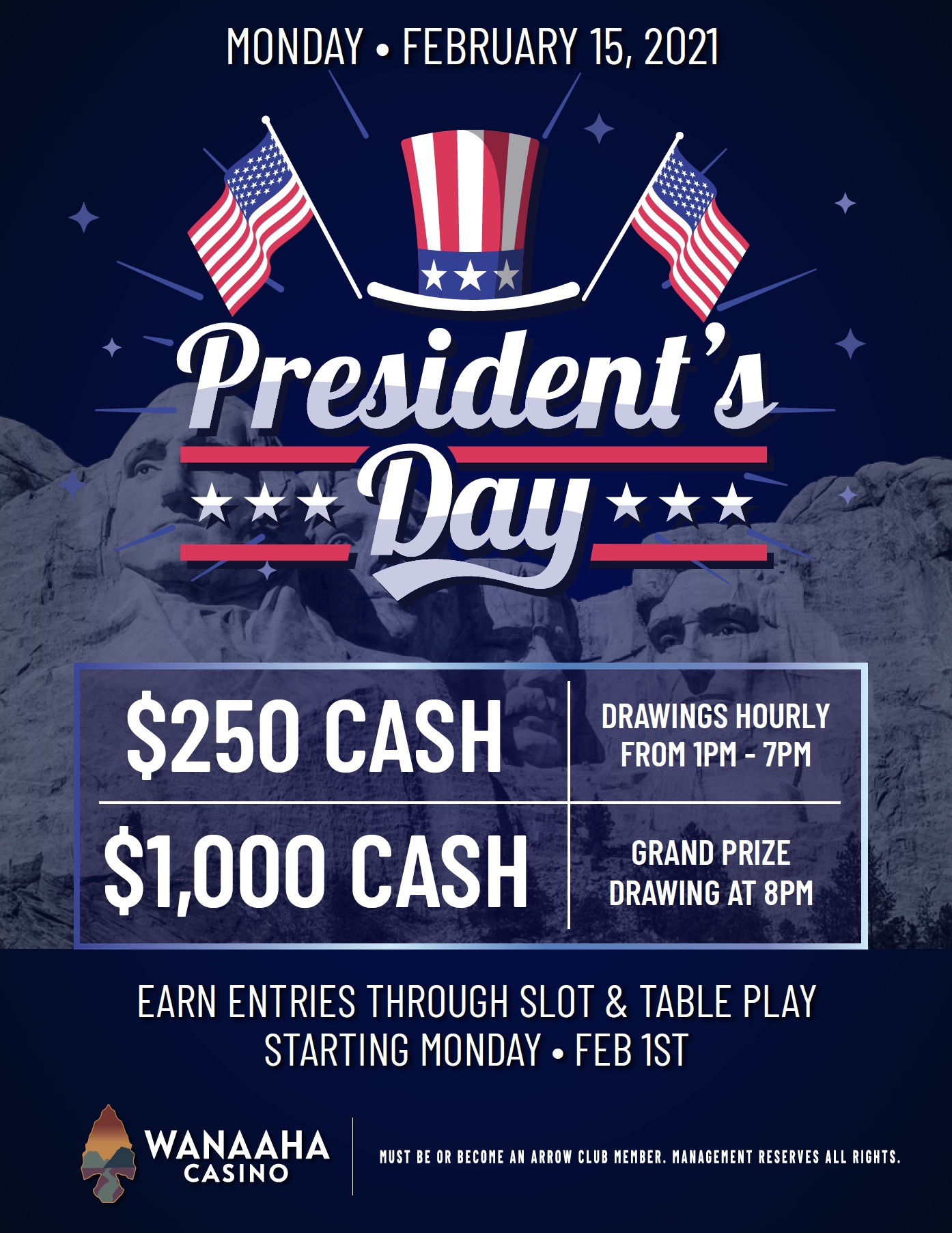 cash giveaway, presidents day, wanaaha casino