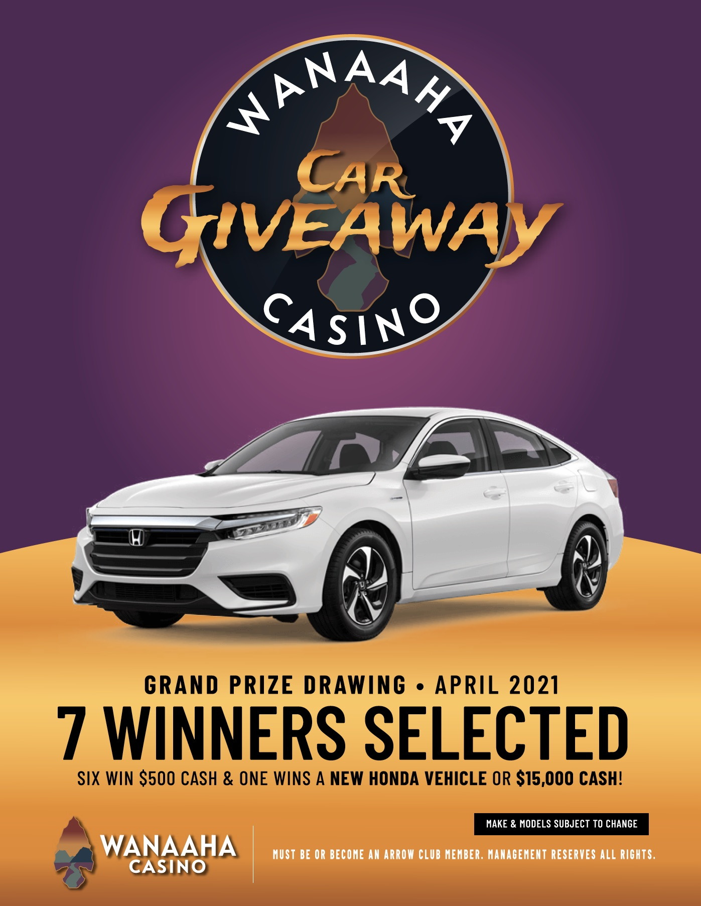 vehicle giveaway - wanaaha casino promotion