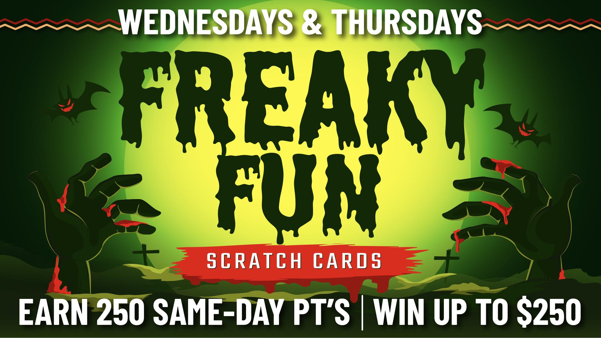 Wanaaha Casino Freaky Fun Scratch Card